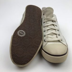 UGG Shoes - UGG Evera Beige Canvas Suede Lace Up Shoes Size 8